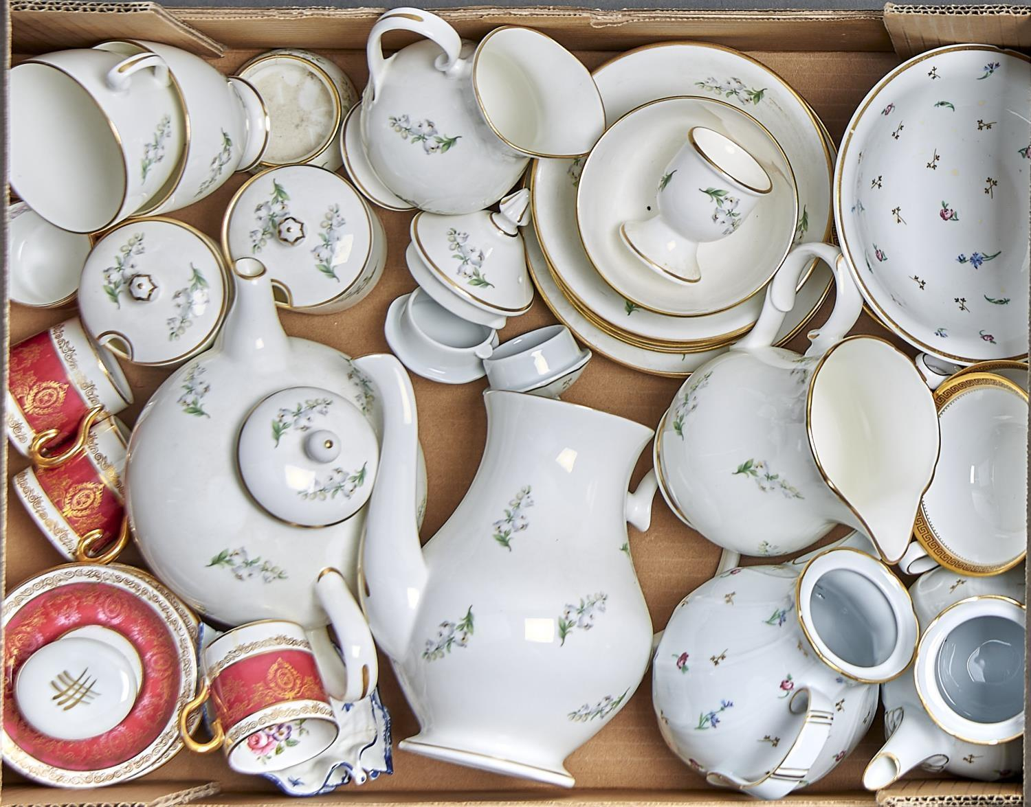 A MICHAEL MINOPRIO PORCELAIN PART TEA SERVICE, THREE ITEMS OF BERNARDAUD LIMOGES POMPADOUR