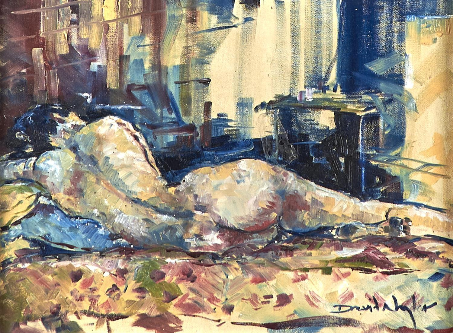DAVID NAYOR, 20TH/21ST CENTURY - RECLINING FEMALE NUDE, SIGNED, OIL ON CANVAS, 29 X 39CM Good