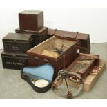 MISCELLANEOUS ITEMS, INCLUDING CABIN TRUNK, JAPANNED TINS, OAK WALL CLOCK, CAST IRON CHANDELIER,