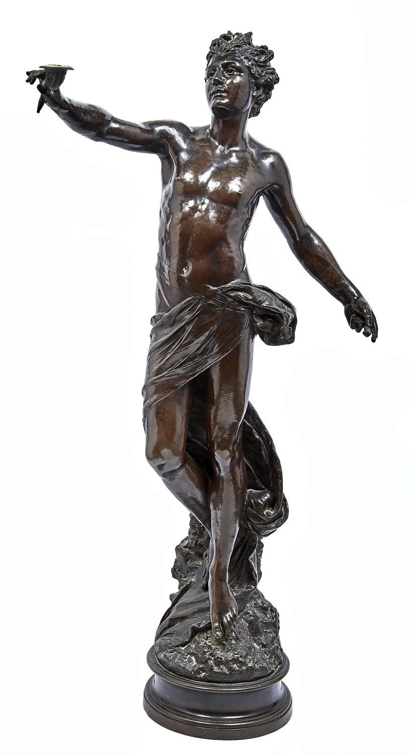 A BRONZED COPPER ELECTROTYPE HALF LIFE SIZED STATUETTE OF A SEMI NAKED YOUTH, 20TH C, HOLDING AN OIL