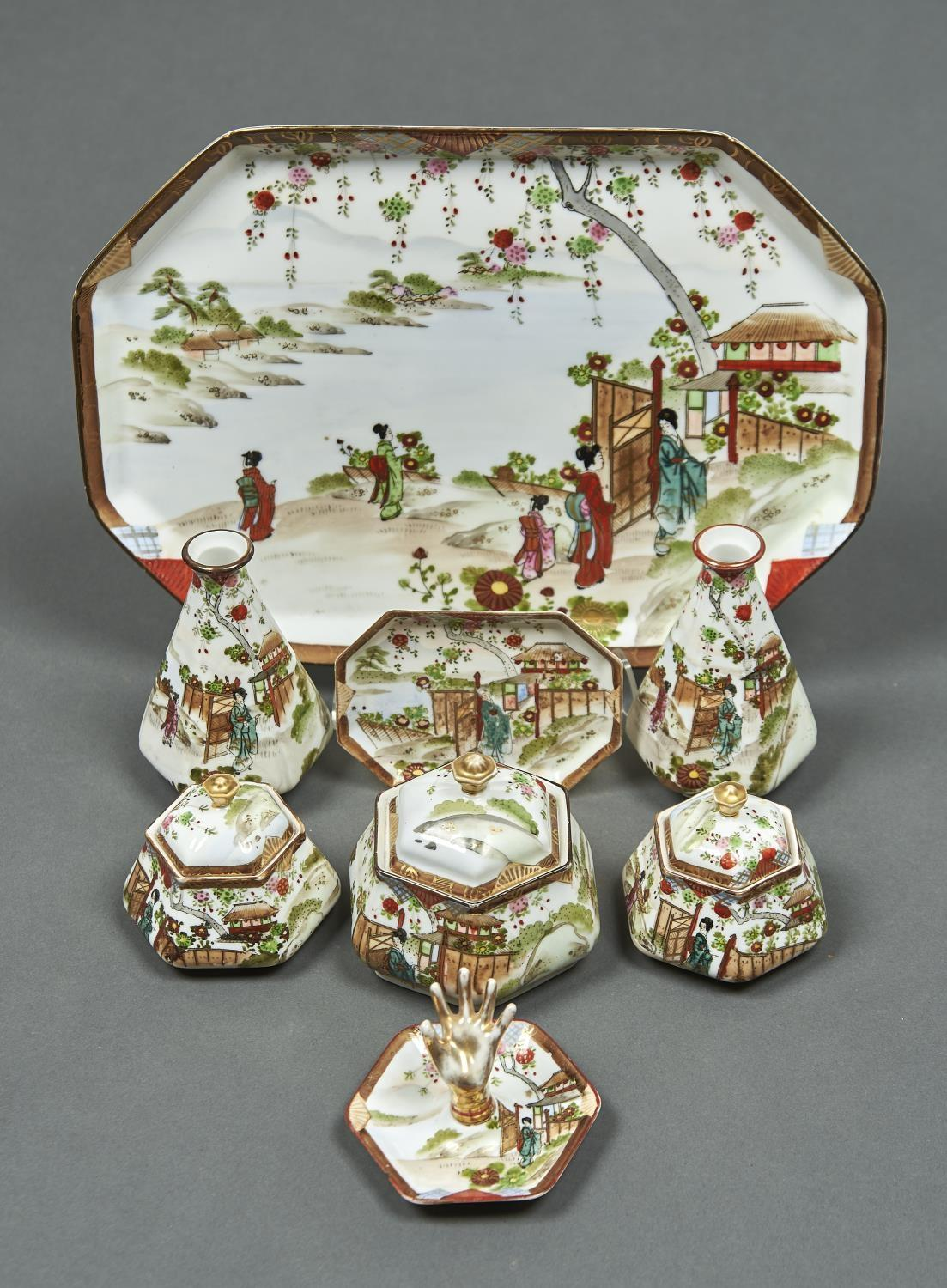 A NORITAKE DRESSING TABLE SET, EARLY 20TH C, DECORATED WITH BEJIN IN A GARDEN, TRAY 33CM L,