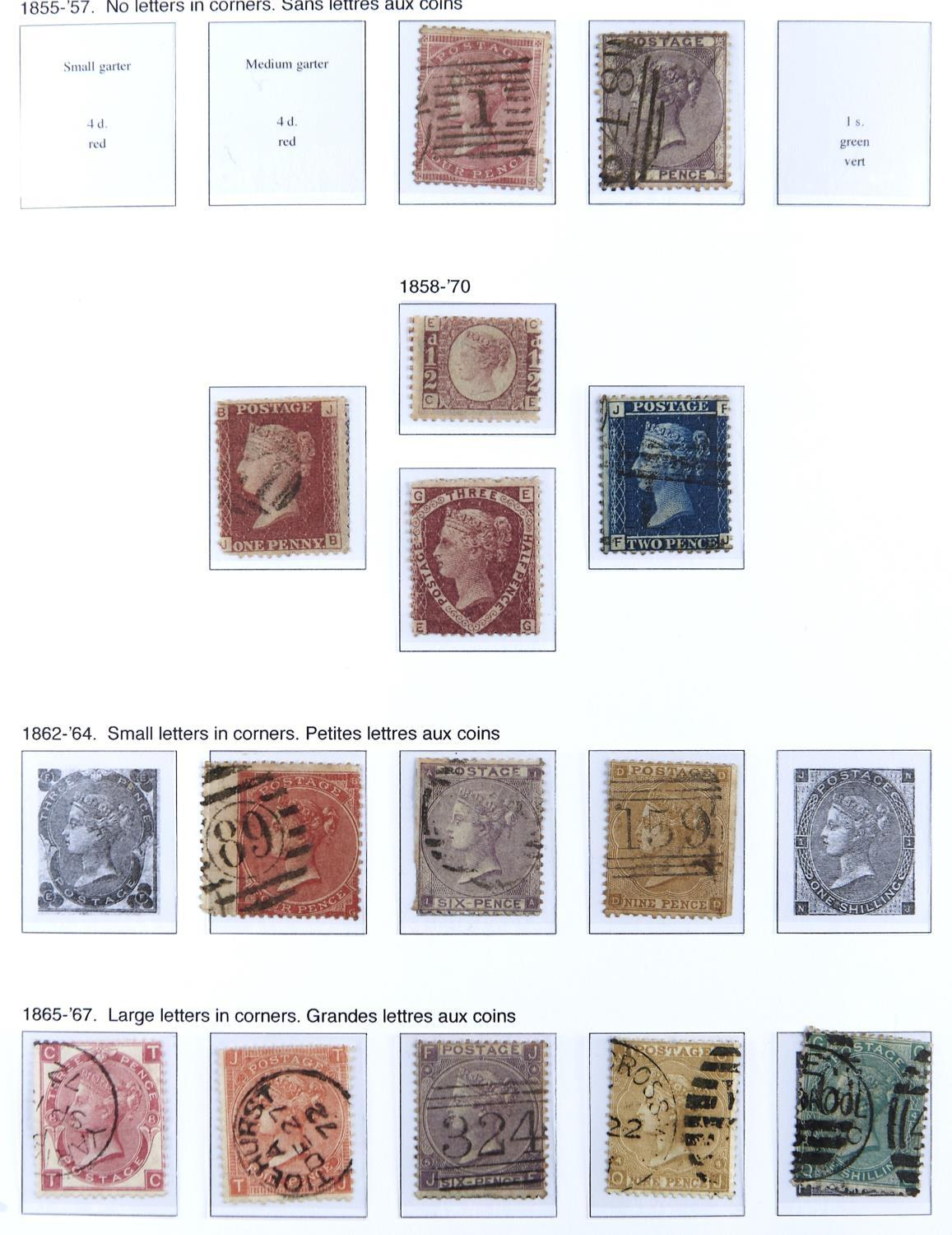 POSTAGE STAMPS. GREAT BRITAIN USED COLLECTION ON LEAVES FROM 1840 1D BLACK, THREE MARGIN LIGHT RED