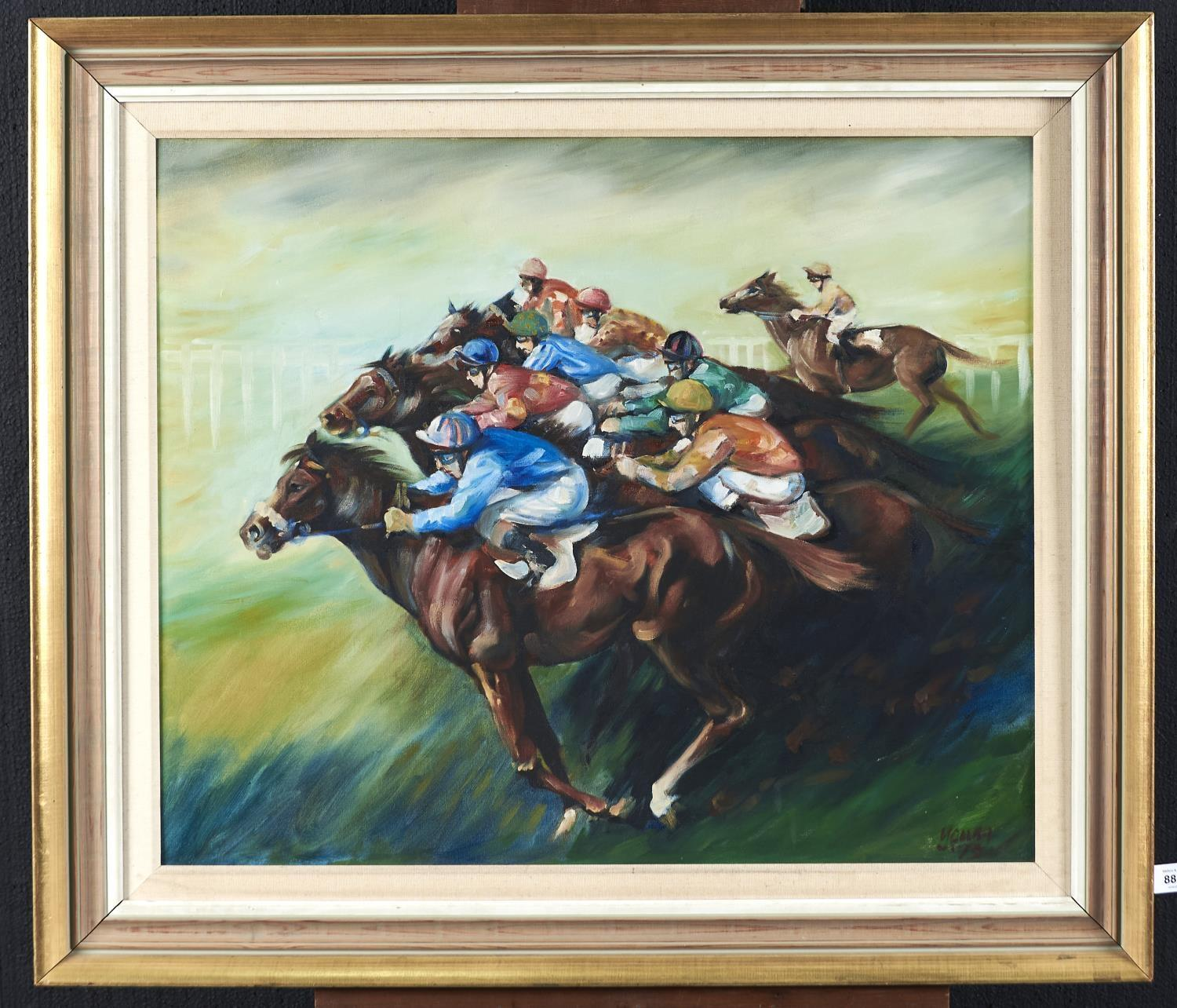 BRITISH SCHOOL, 1973 - HORSE RACING, INDISTINCTLY SIGNED YOUNG AND DATED, OIL ON BOARD, 61 X 74CM - Image 2 of 2