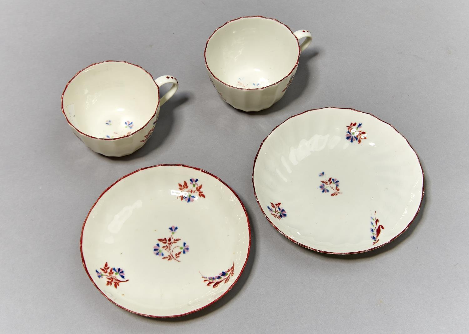 TWO PINXTON FLUTED TEACUPS AND SAUCERS, PATTERN 1 (RED SPRIG), C1800, SAUCER 14CM DIAM Localised - Image 3 of 3
