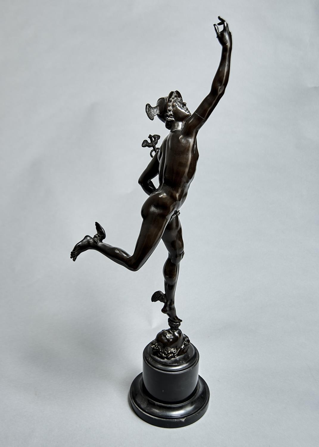 A FRENCH BRONZE STATUETTE OF MERCURY AFTER GIAMBOLOGNA, LATE 19TH C, ON NERO BELGICA MARBLE SOCLE, - Image 2 of 2