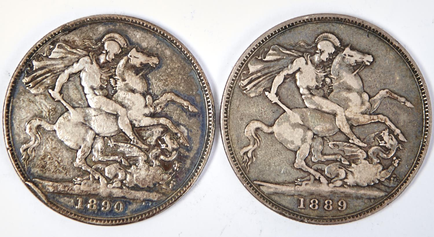 SILVER COINS.  CROWNS 1889 AND 1890 - Image 2 of 2