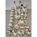 A ROYAL ALBERT OLD COUNTRY ROSES PATTERN CHINA, COMPRISING COFFEE POT, SIX CUPS AND SAUCERS, SUGAR