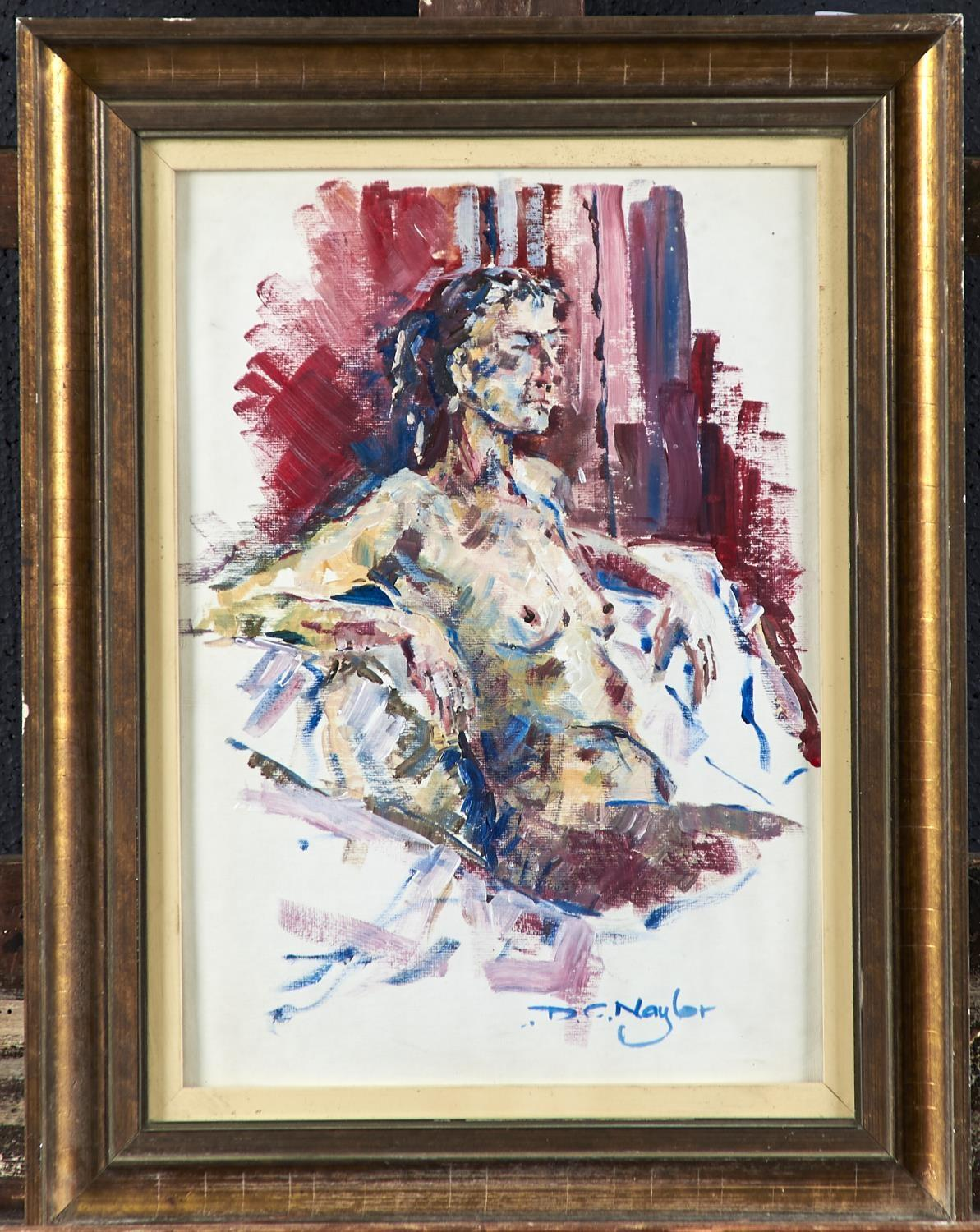 DAVID NAYLOR, 2OTH/21ST CENTURY - FEMALE NUDE, SIGNED, OIL ON BOARD, 34 X 24CM Good condition - Image 2 of 2