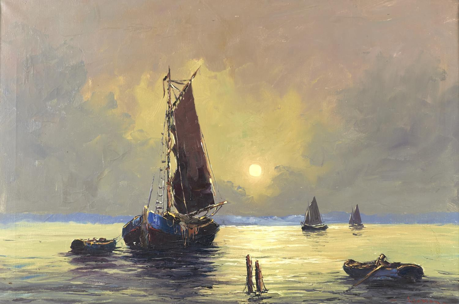 BRITISH SCHOOL, LATE 20TH C - THE FISHING FLEET AT SUNSET, INDISTINCTLY SIGNED (IN RED), OIL ON - Image 2 of 2