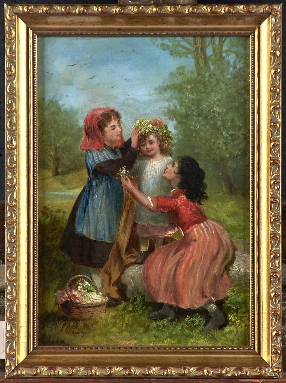 FOLLOWER OF WILLIAM HEMSLEY - CROWNING THE LITTLE PET WITH LILIES, BEARS SIGNATURE AND DATE, OIL - Image 2 of 3