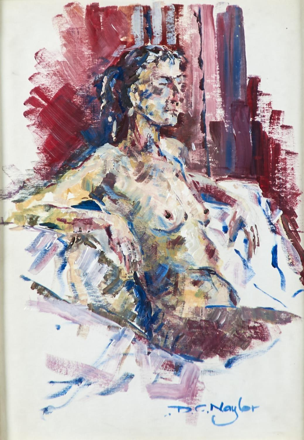 DAVID NAYLOR, 2OTH/21ST CENTURY - FEMALE NUDE, SIGNED, OIL ON BOARD, 34 X 24CM Good condition