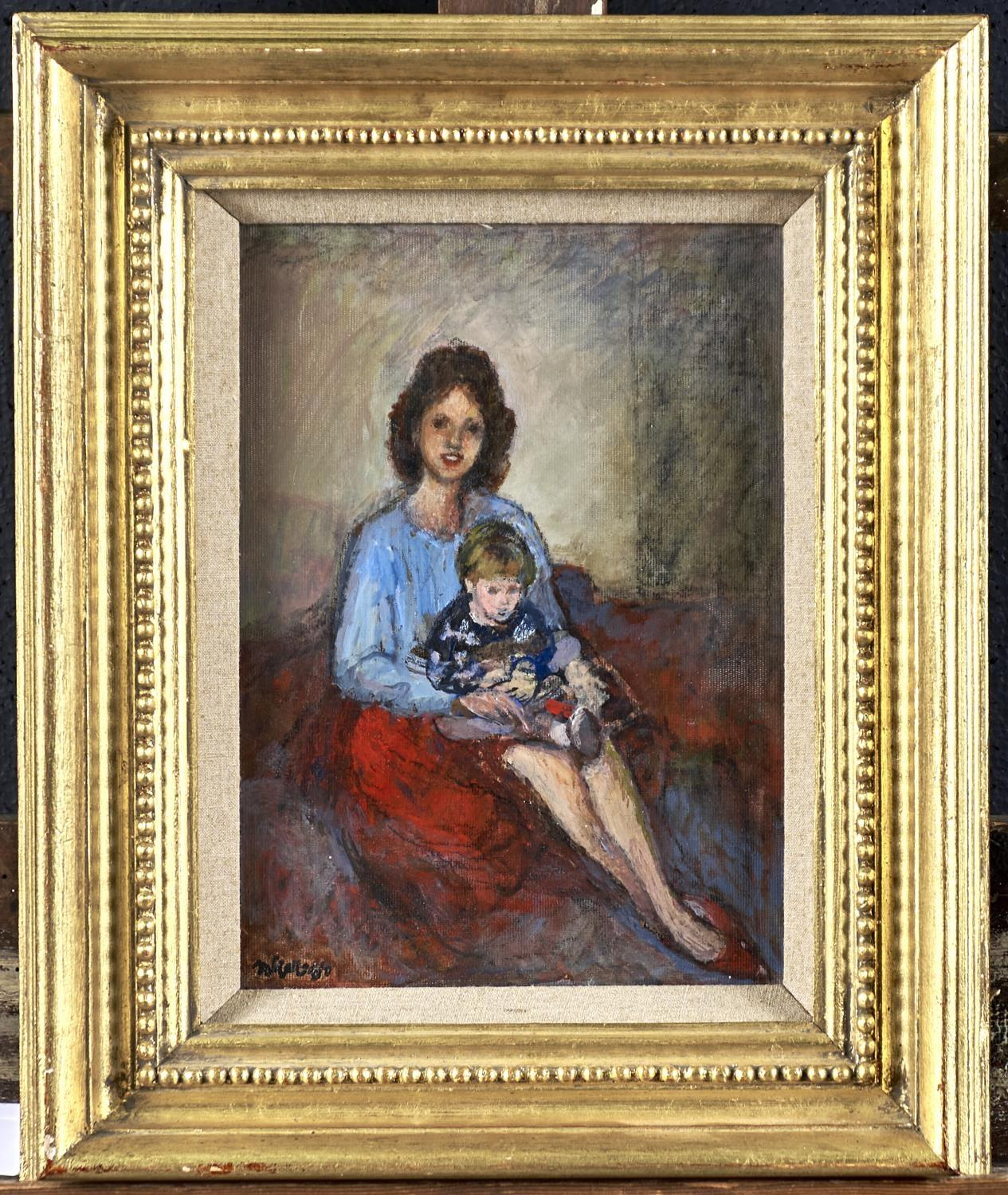 CHARLES JAMES MCCALL (1907-1989) -MOTHER AND CHILD, SIGNED AND DATED '88, OIL ON BOARD, 28 X 20. - Image 2 of 3