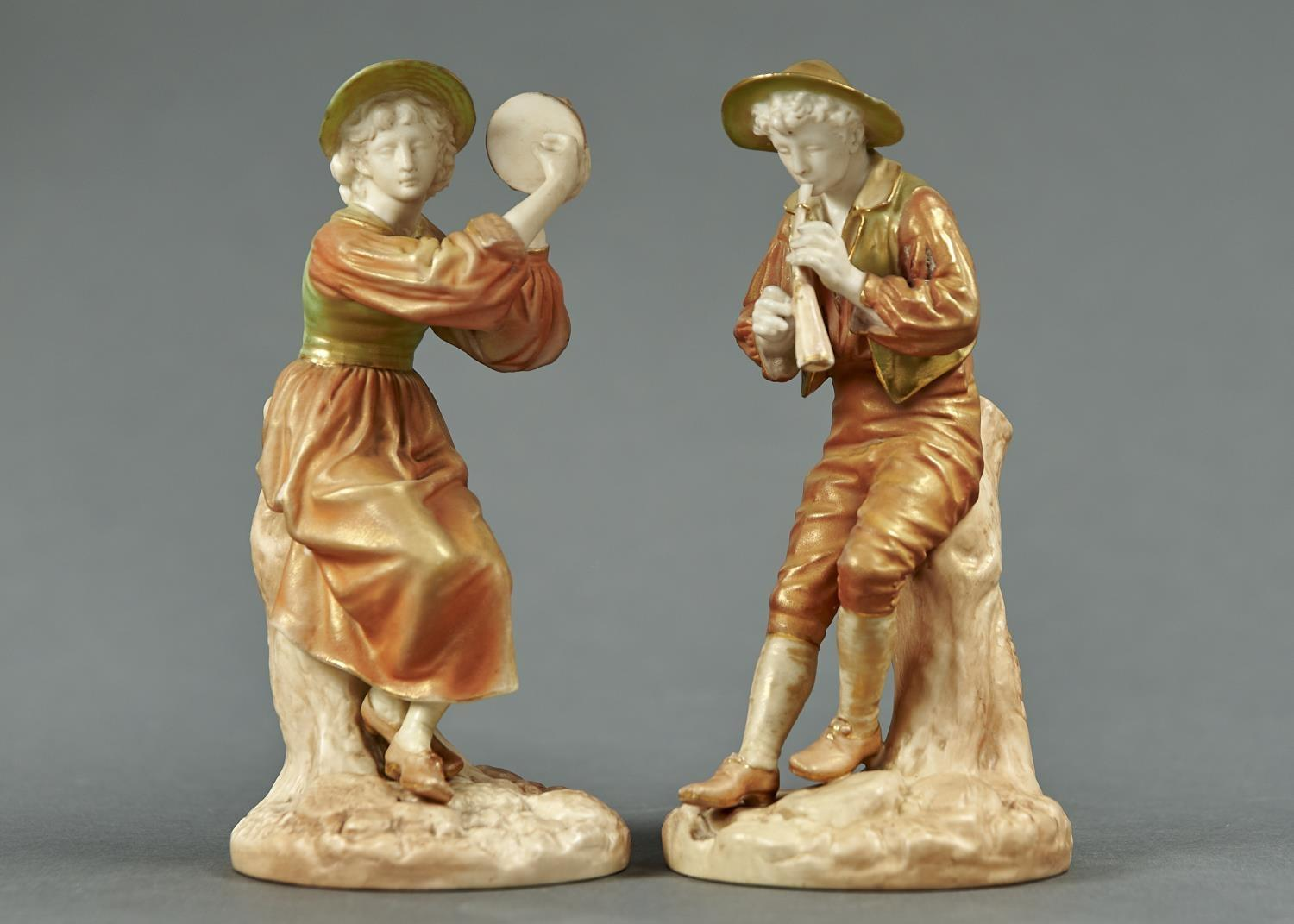 A PAIR OF ROYAL WORCESTER FIGURES OF STREPHON THE BOY PIPER AND HIS FEMALE COMPANION, 1903, MODELLED