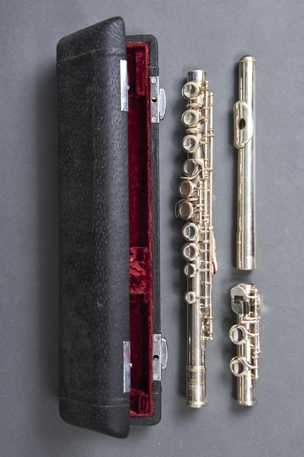 A CHINESE SILVER PLATED FLUTE, LARK, NUMBERED M4006, 67.5CM L OVERALL, CASED Wear consistent