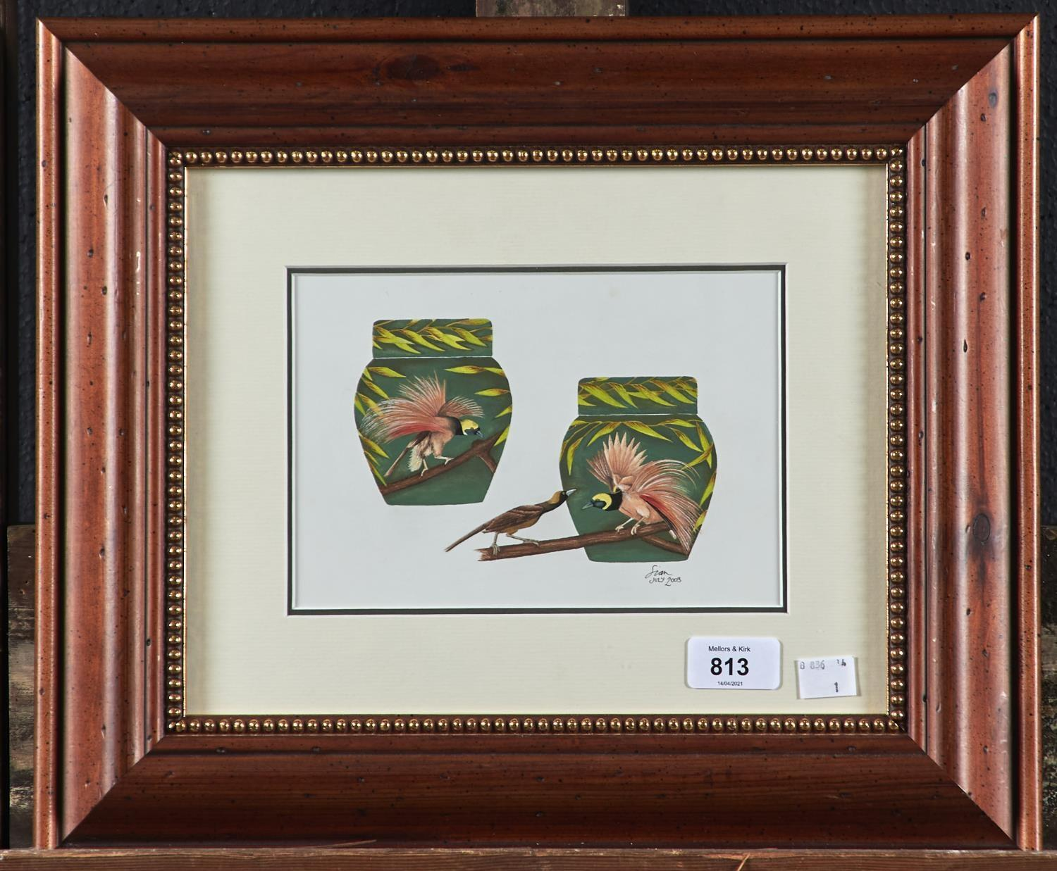 SIAN LEEPER - BIRD OF PARADISE, DESIGN FOR MOORCROFT, SIGNED AND DATED JULY 2003, GOUACHE, 14 X 20CM - Image 2 of 2