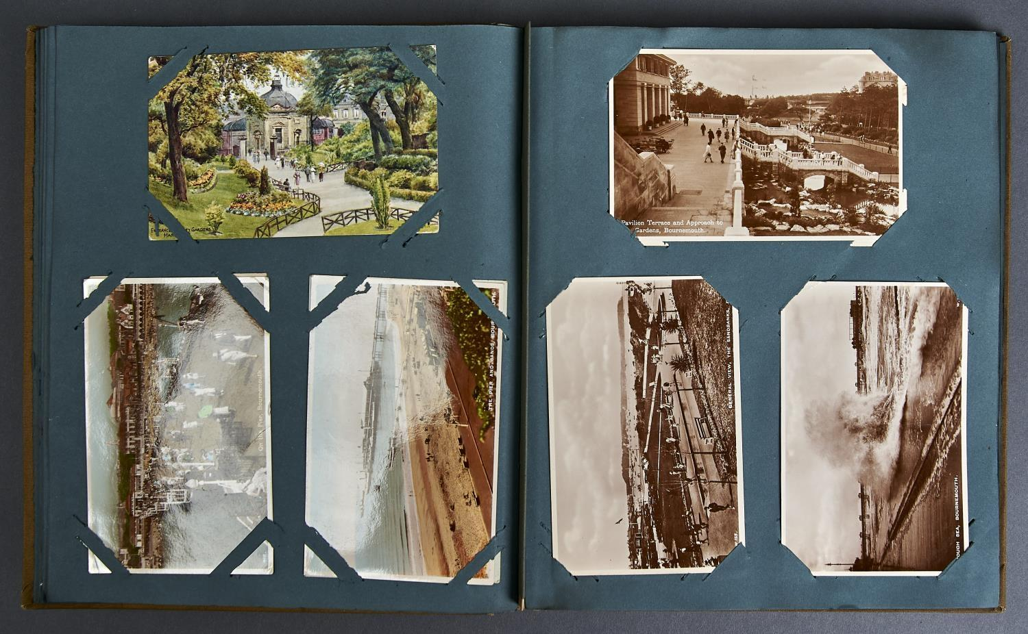 TWO ALBUMS OF POSTCARDS, UK, MAINLY EARLY 20TH C, TO INCLUDE BOURNEMOUTH, WHITLEY BAY, BLACKPOOL,