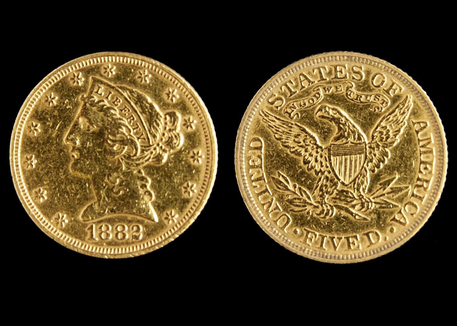 GOLD COIN. UNITED STATES OF AMERICA, 5 DOLLARS 1882, POLISHED, FINE