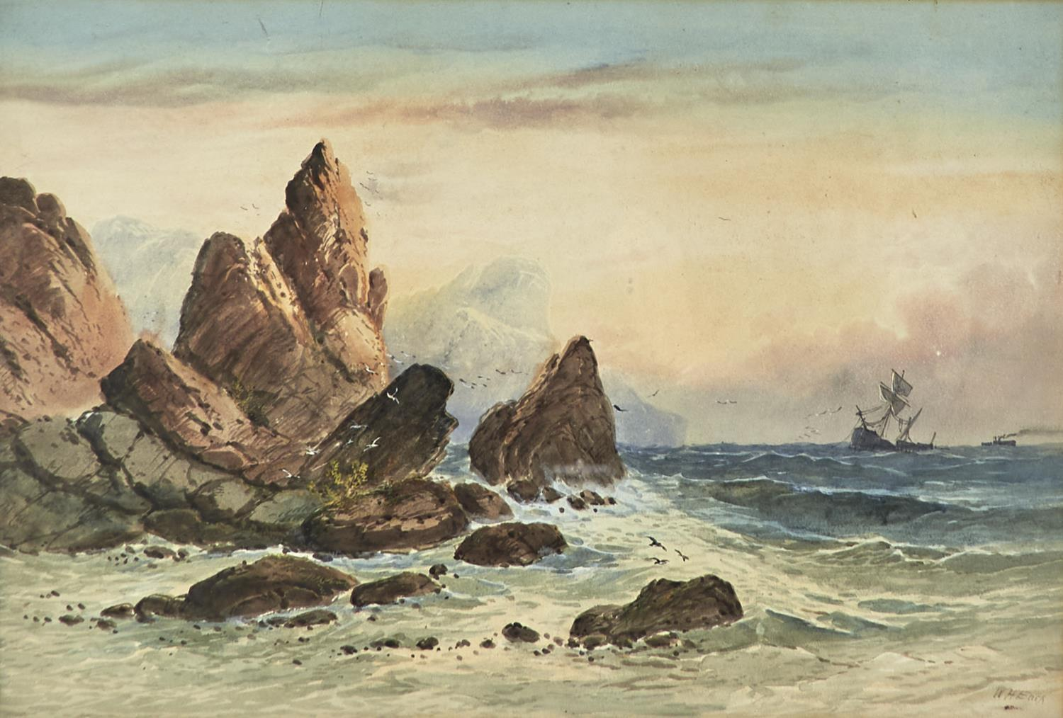WILLIAM HENRY EARP (1833-1914) - SHIPPING OFF THE COAST, SIGNED, WATERCOLOUR, 36.5 X 54CM Good