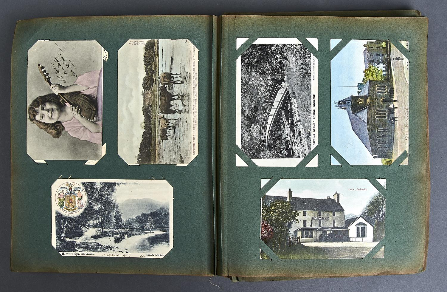 ONE ALBUM OF POSTCARDS, MAINLY UK, EARLY 20TH C, TO INCLUDE LAKE DISTRICT, BOURNEMOUTH, INFANTS,