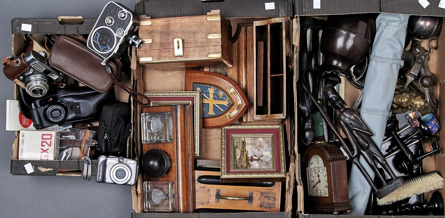 MISCELLANEOUS WOODEN TRIBAL ART, VINTAGE BAKELITE FLASK, ROLL FILM AND CINE CAMERAS, AND OTHER