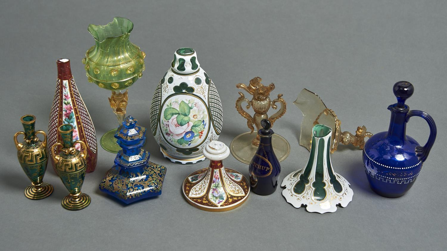 A BOHEMIAN ENAMELLED TEAL BLUE GLASS SCENT BOTTLE AND STOPPER, C1860-70, OF HEXAGONAL SHAPE, 13CM