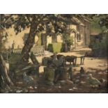 ENGLISH SCHOOL, 1935 - CHICKENS IN DAPPLED SUNLIGHT, SIGNED COOKE AND DATED, WATERCOLOUR AND BODY