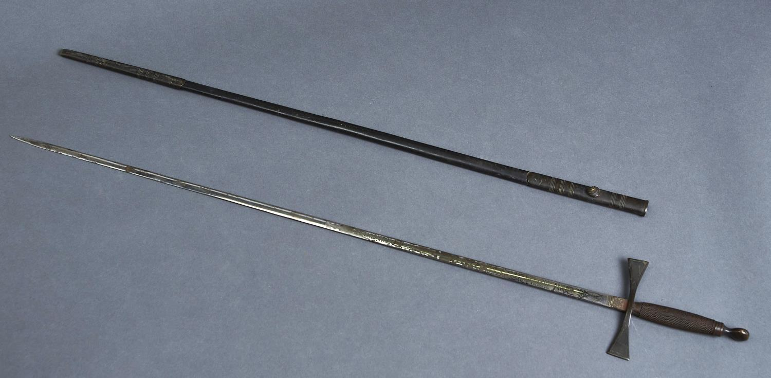 A MASONIC SMALL SWORD, EARLY 20TH C, THE ETCHED BLADE SIGNED FOR G KENNING & SONS, BRASS MOUNTED
