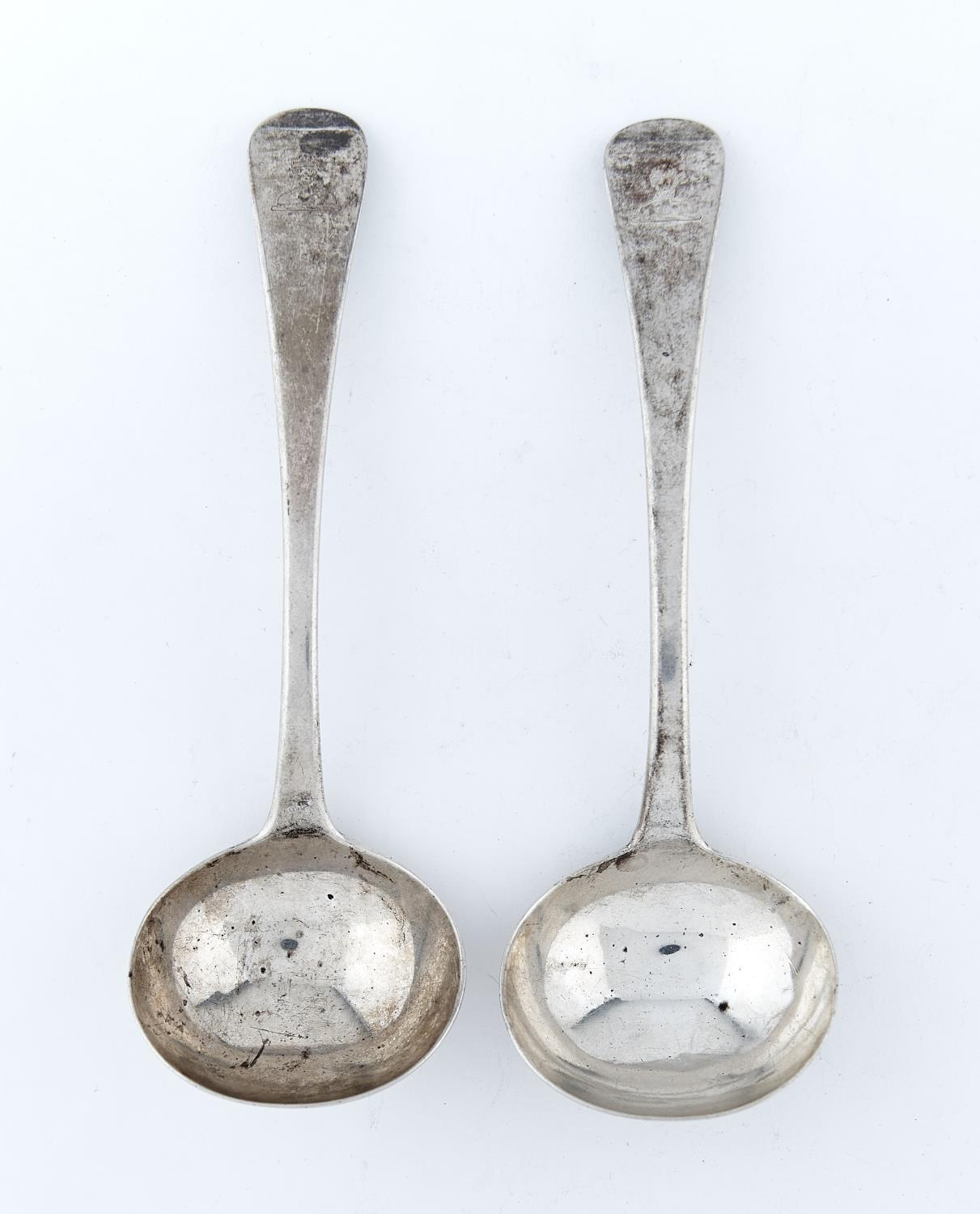 A PAIR OF GEORGE III SILVER SAUCE LADLES, OLD ENGLISH PATTERN, CRESTED (A MOOR'S HEAD), BY ELEY &
