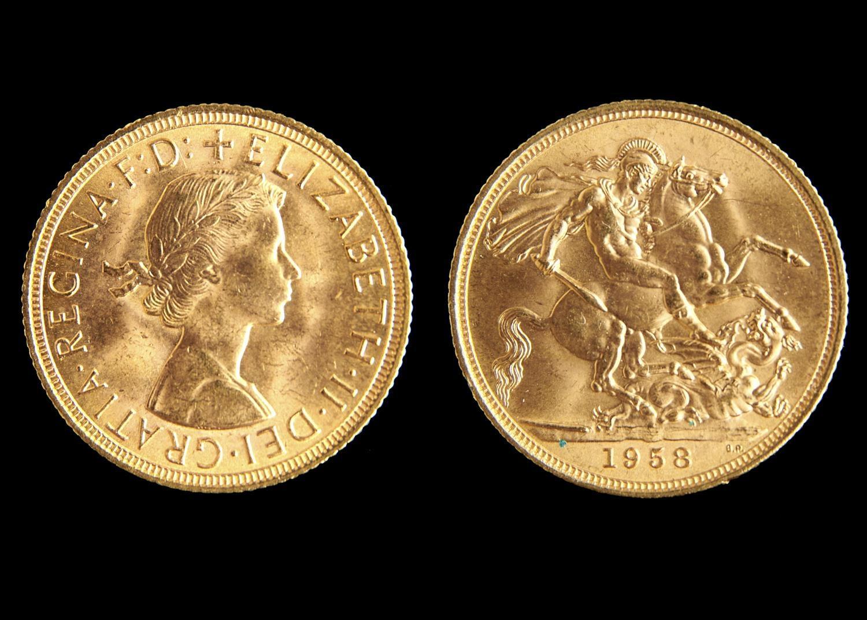 GOLD COIN. SOVEREIGN 1958