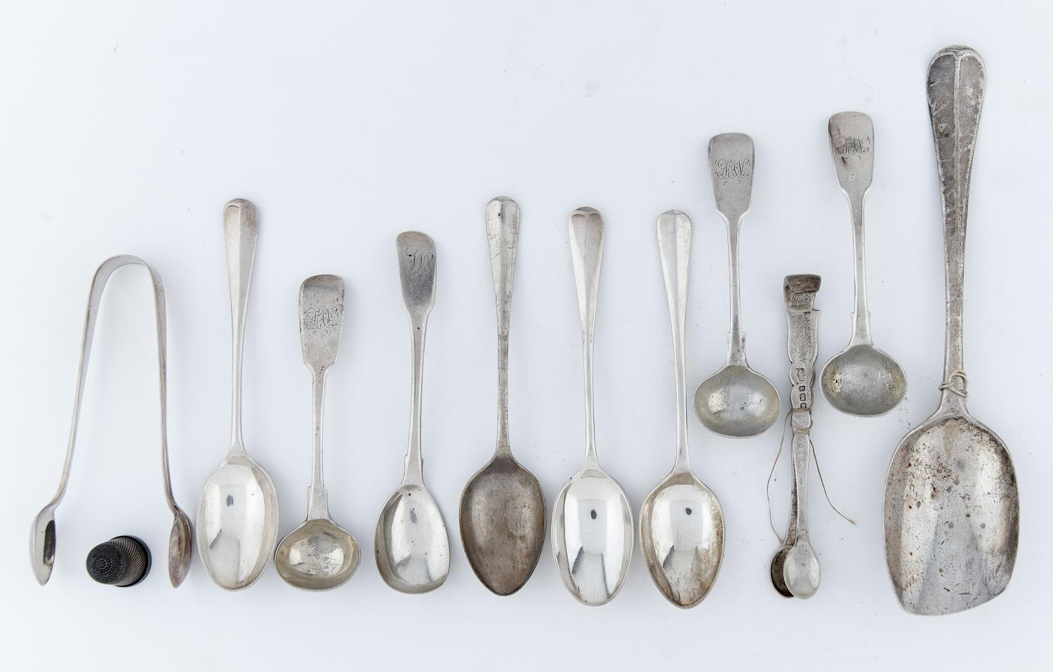MISCELLANEOUS GEORGE III AND LATER SMALL SILVER FLATWARE, ETC, 7OZS 10DWTS Several items worn or