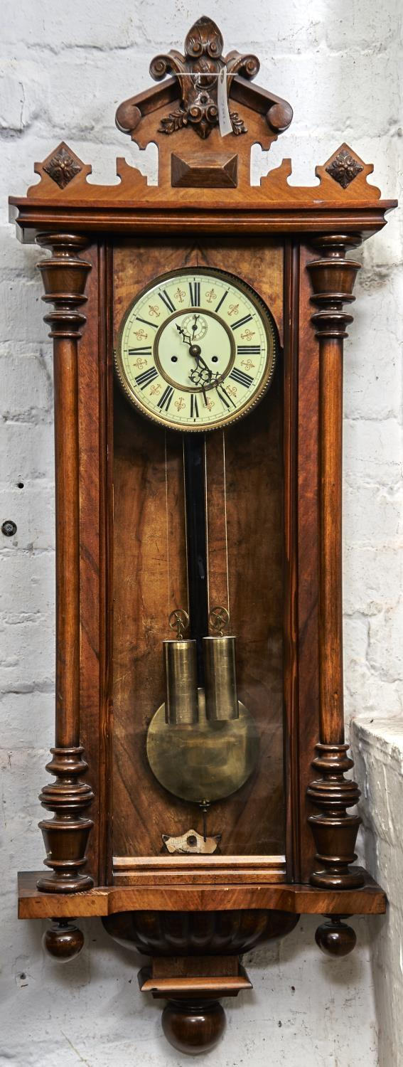 A WALNUT VIENNA WALL CLOCK, LATE 19TH C, WITH ARCHITECTURAL PEDIMENT CENTRED ON PALMETTES, SCROLLS