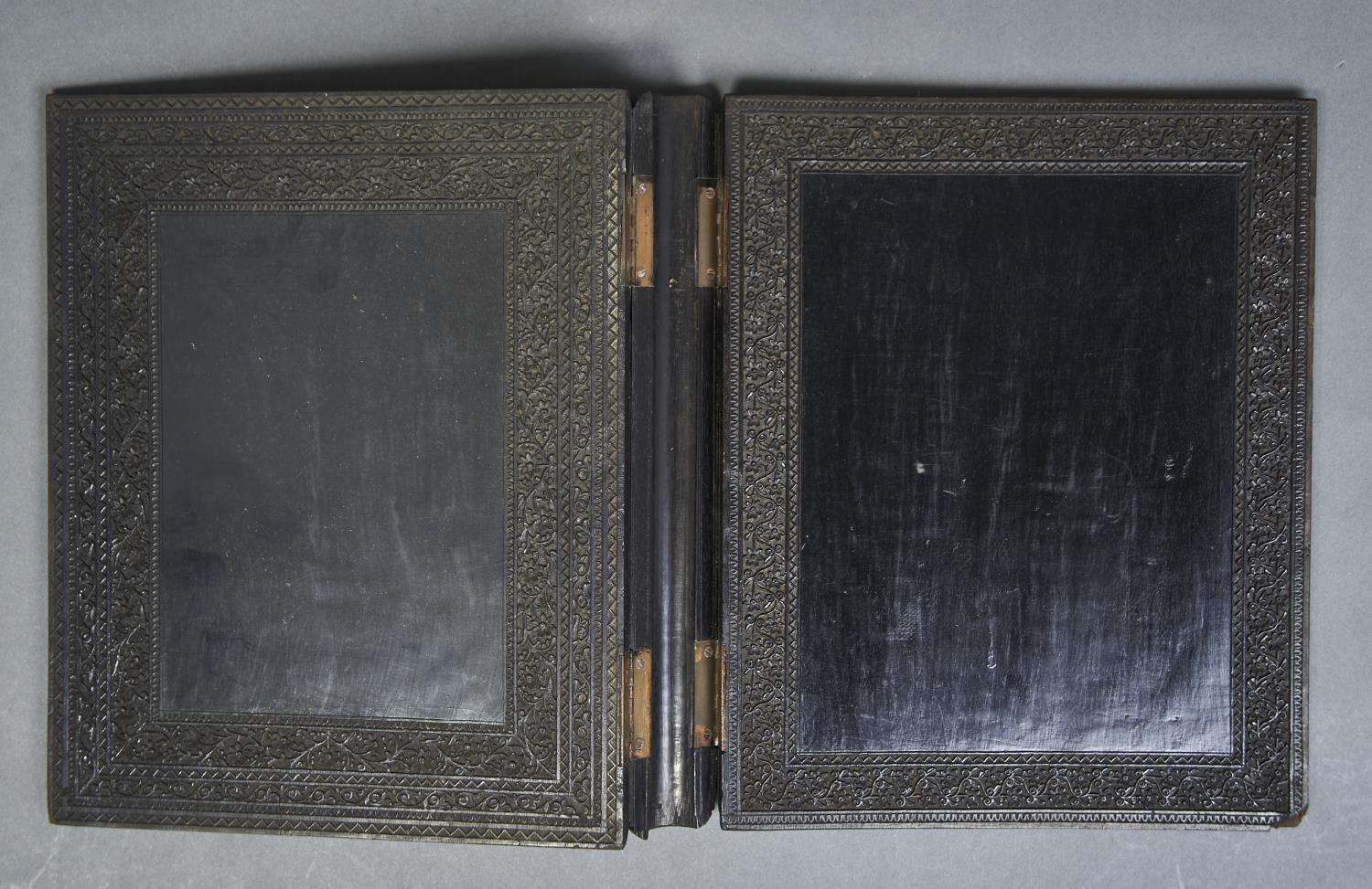 A CARVED EBONY BLOTTING BOOK, 19TH C,  WITH TENDRILS WITHIN CONFORMING FOLIATE PALMETTE BORDERS, - Image 2 of 2