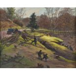 JOHN EDWARD BARKER (1889-1953) FELLING TIMBER - SALLY-IN-THE-WOOD NEAR BASFORD, SIGNED, DATED 1952
