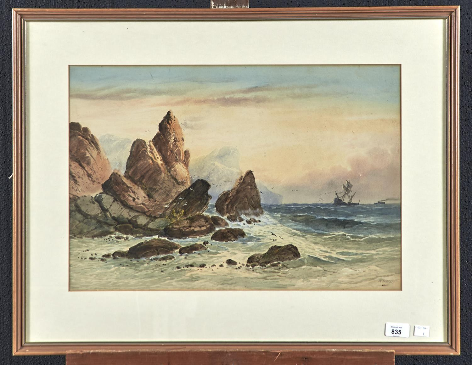 WILLIAM HENRY EARP (1833-1914) - SHIPPING OFF THE COAST, SIGNED, WATERCOLOUR, 36.5 X 54CM Good - Image 2 of 2