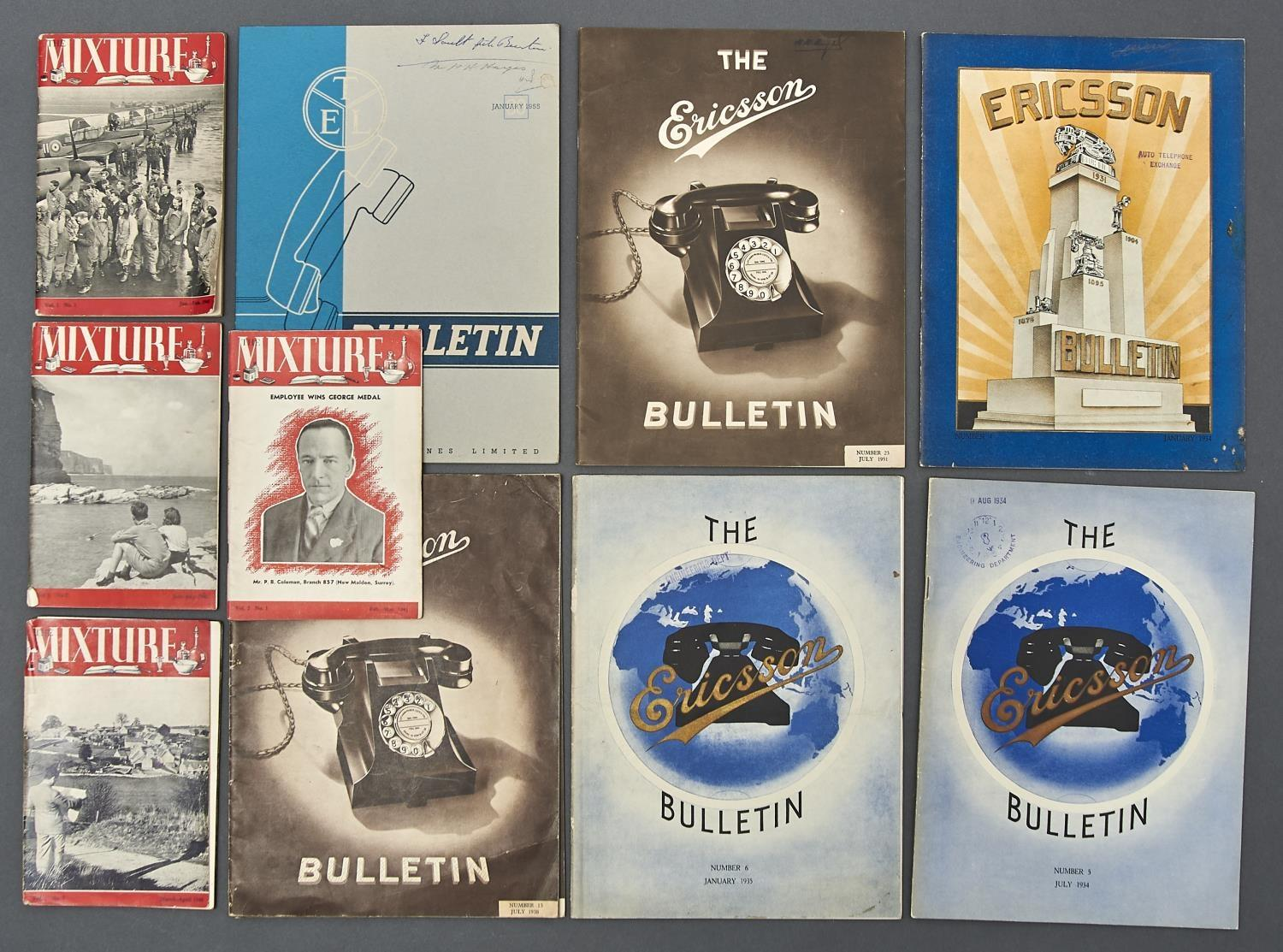 VARIOUS VINTAGE PRINTED EPHEMERA, INCLUDING THE MIXTURE, ERICSSON BULLETIN