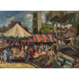 HILDA M PRICE, FL EARLY 20TH CENTURY - THE FAIR WAREHAM, SIGNED, OIL ON BOARD, 38.5 X 53CM Clean,