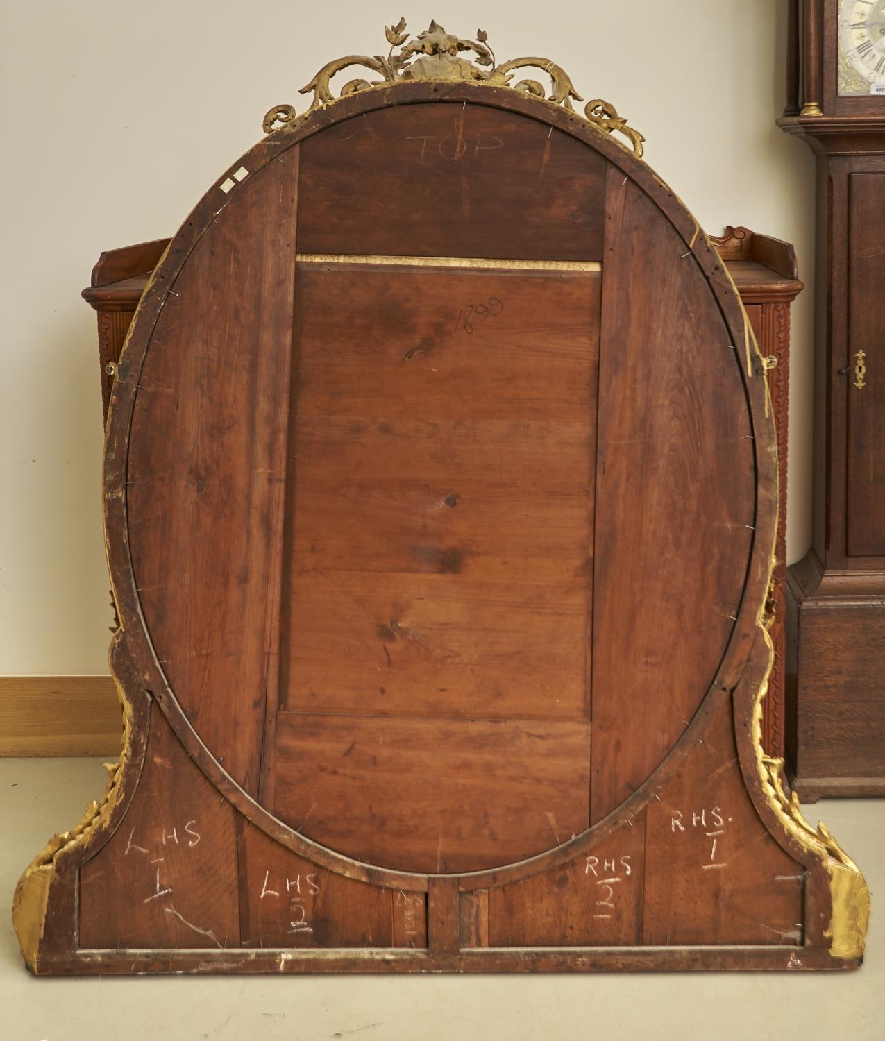 A VICTORIAN OVAL AND GILTWOOD COMPOSITION OVERMANTLE MIRROR, C1870, THE BEVELLED PLATE IN LAUREL AND - Image 2 of 2