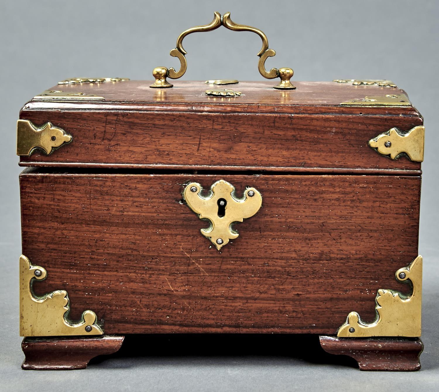 A GEORGE III BRASS MOUNTED PADOUK TEA CHEST, LATE 18TH C, THE MOUNTS LATER, THE INTERIOR