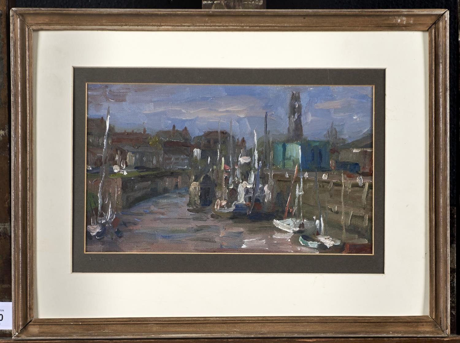 ENGLISH SCHOOL, 20TH CENTURY - BOSTON STUMP AND HARBOUR, OIL ON BOARD, 17 X 29CM Good condition - Image 2 of 3