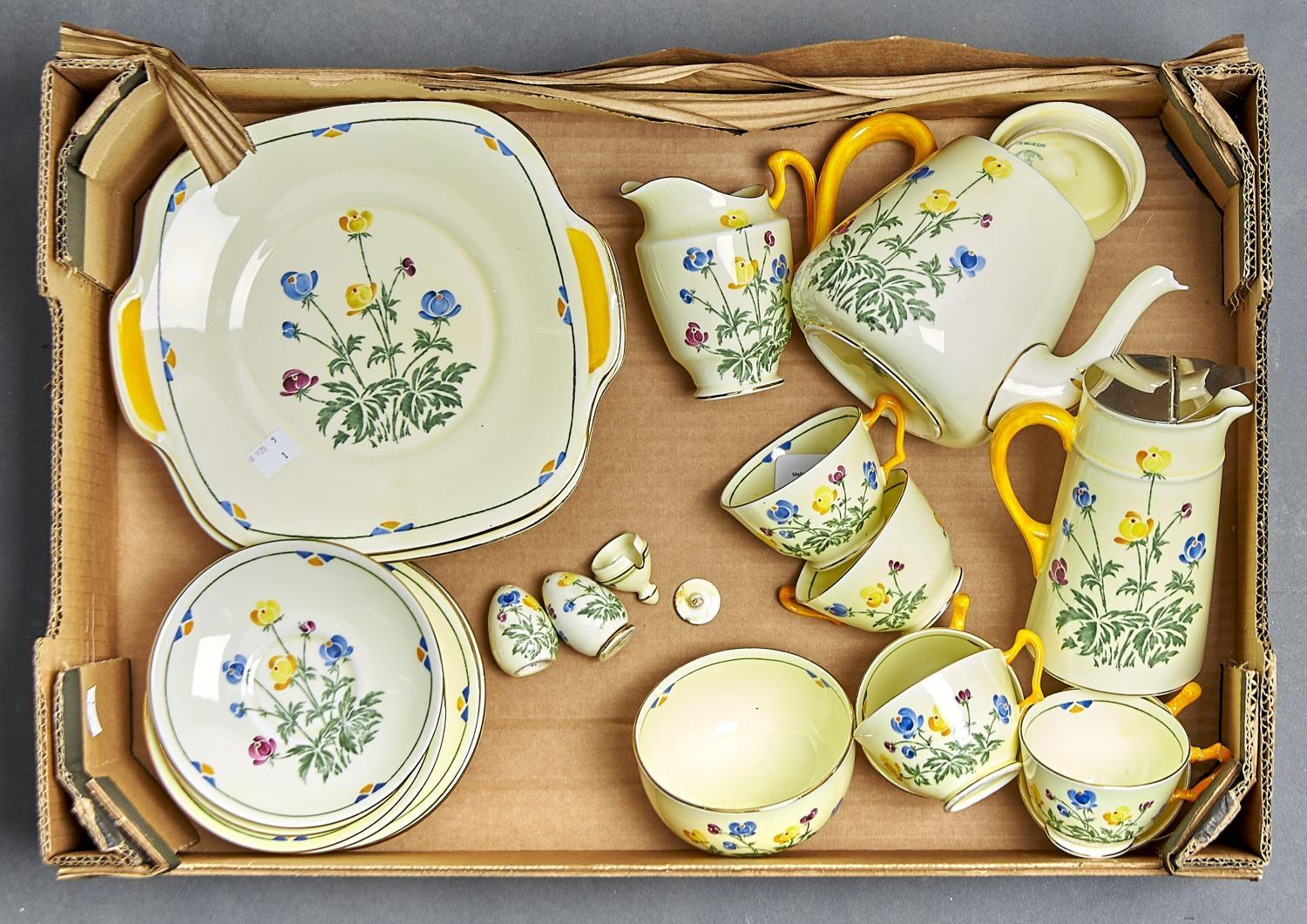 A CROWN STAFFORDSHIRE TEA SERVICE FOR SIX, COMPRISING SIX CUPS AND SAUCERS, SIX SIDE PLATES, SIX