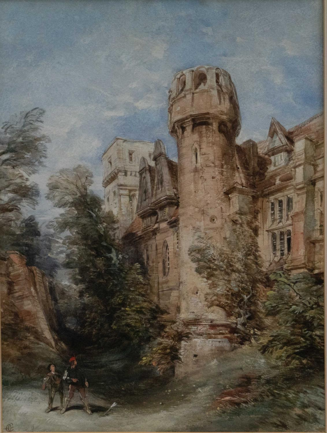 GEORGE CATTERMOLE, RWS (1800-1868) - ARCHER BEFORE A FORTIFIED MANOR HOUSE, SIGNED WITH INITIALS,
