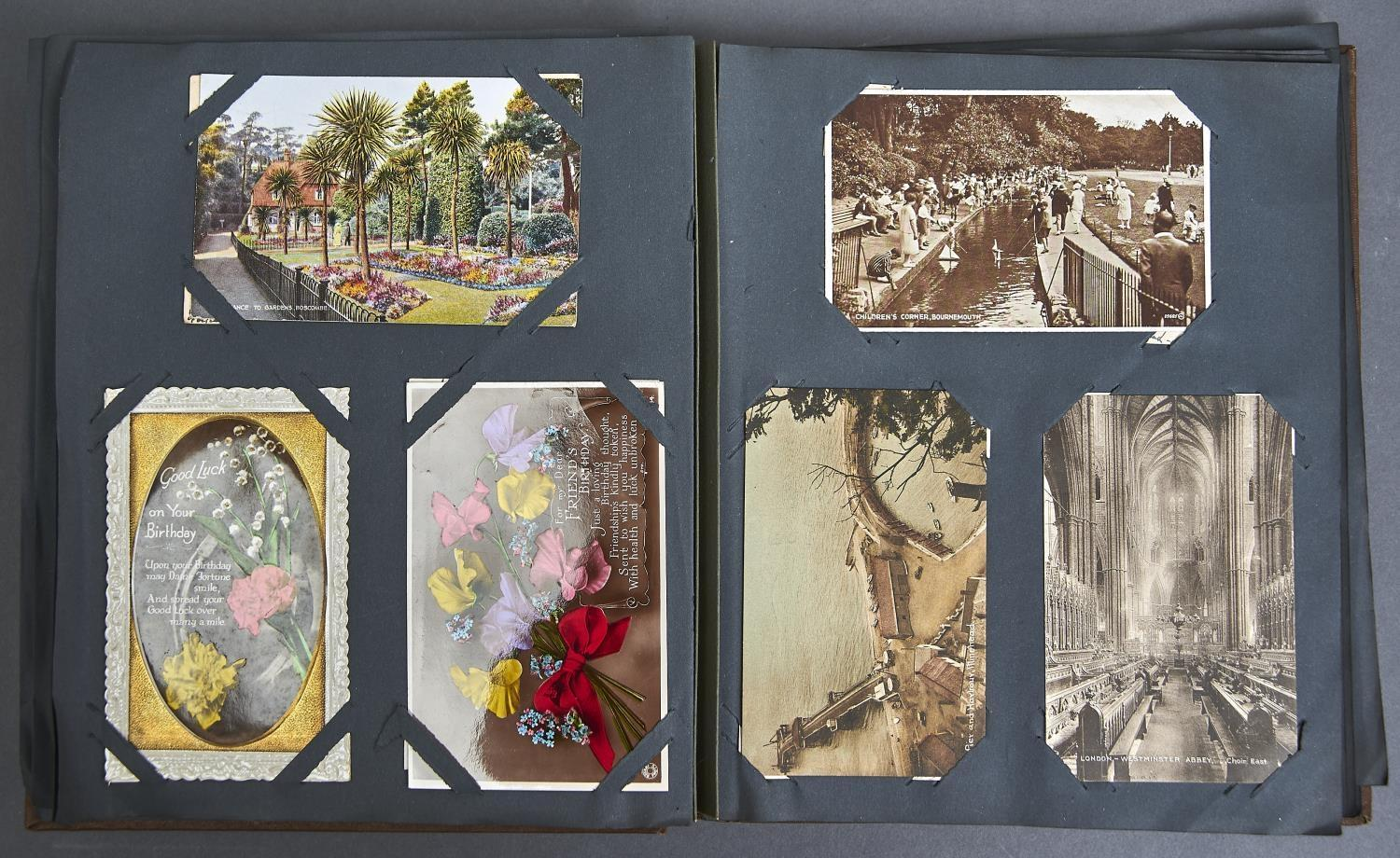 TWO ALBUMS OF POSTCARDS, UK, MAINLY EARLY 20TH C, TO INCLUDE BOURNEMOUTH, WHITLEY BAY, BLACKPOOL, - Image 2 of 2