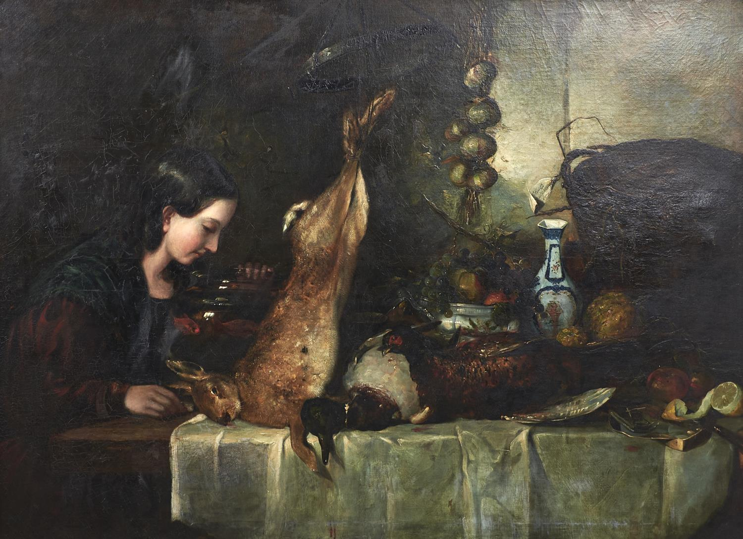 CHARLES HEATH (1785-1848) - WOMAN SEATED AT A TABLE WITH DEAD GAME, A STRING OF ONIONS, FRUIT AND