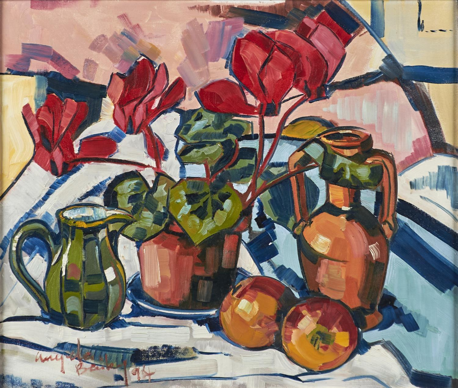 ANGELA BAILEY, 20TH/21ST CENTURY - STILL LIFE WITH CYCLAMEN AND FRUIT, SIGNED AND DATED '94,