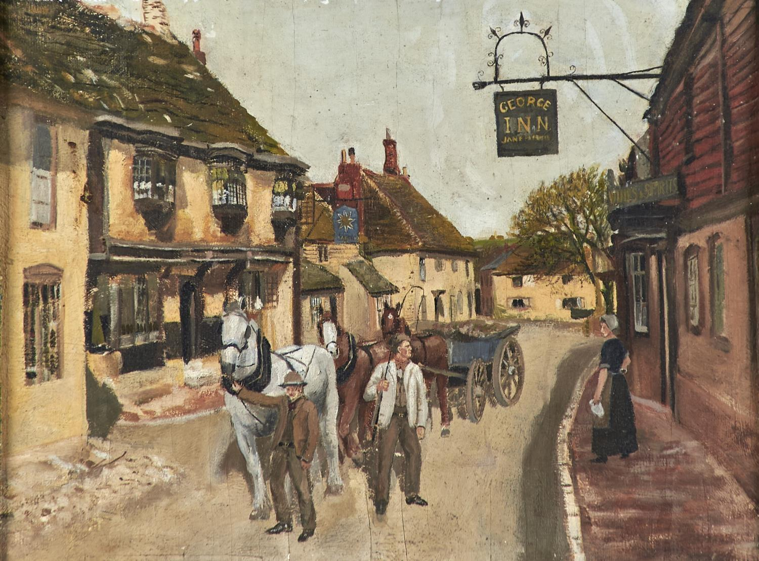 ENGLISH NAIVE ARTIST, EARLY 20TH CENTURY - YOUTH AND AGE, OIL ON BOARD, 32.5 X 43.5CM Slight