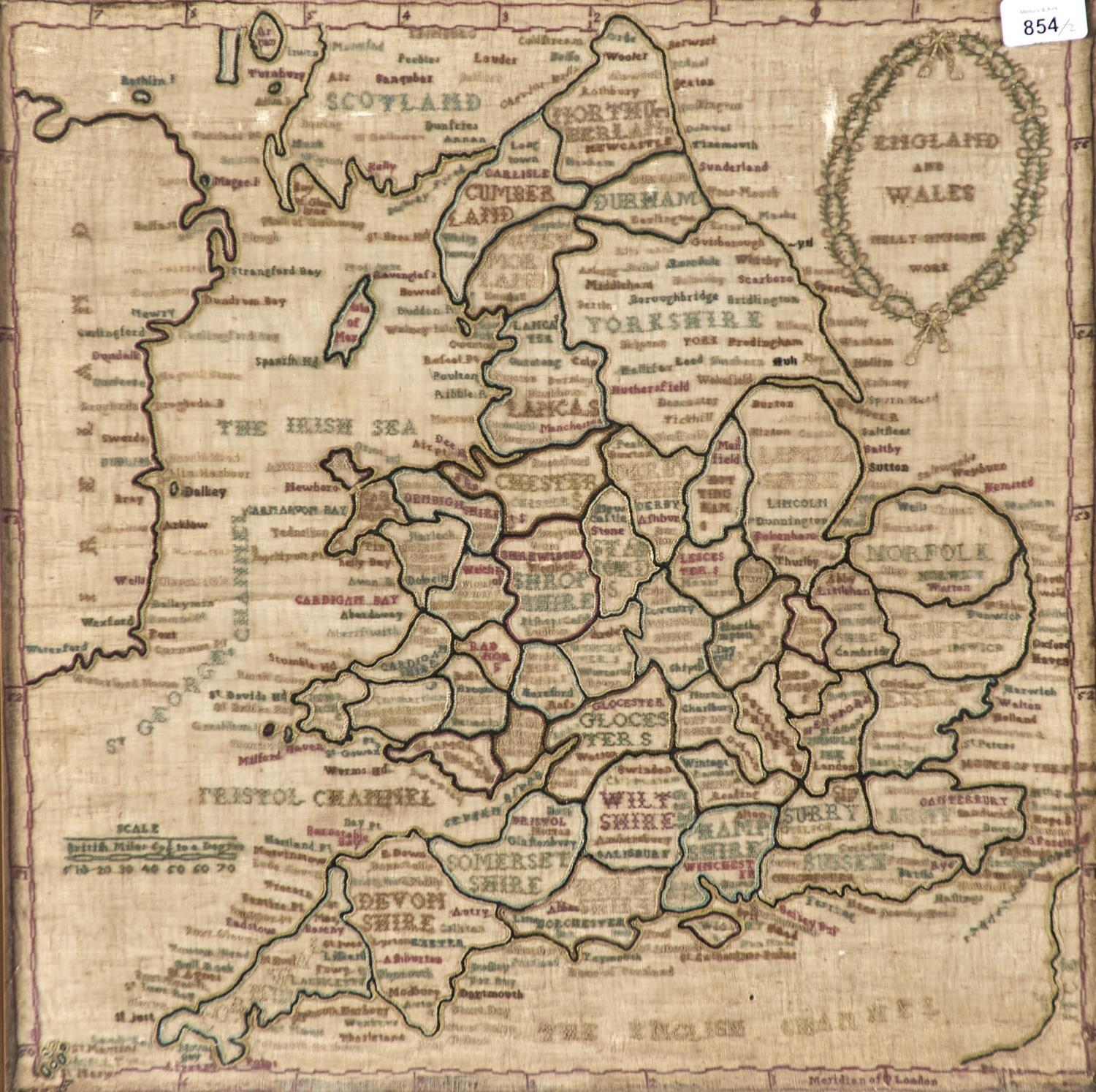 TWO ENGLISH LINEN MAP SAMPLERS OF ENDLAND AND WALES AND EUROPE, NELLIE SIMPSON'S WORK AND MARGARET - Image 2 of 4