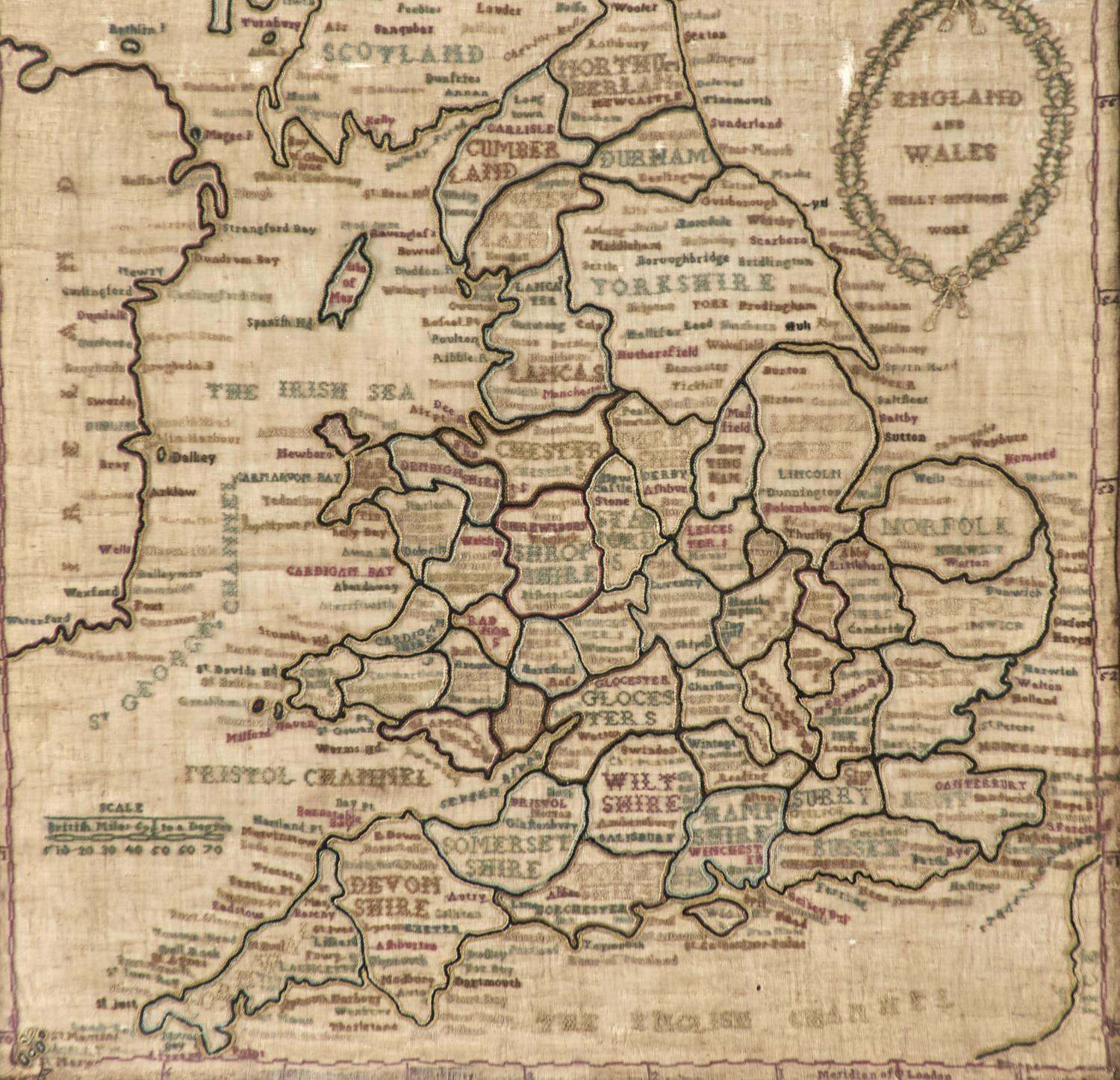 TWO ENGLISH LINEN MAP SAMPLERS OF ENDLAND AND WALES AND EUROPE, NELLIE SIMPSON'S WORK AND MARGARET - Image 4 of 4