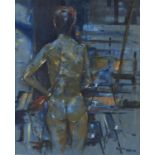 DAVID NAYLOR, 20TH/21ST CENTURY - STANDING FEMALE NUDE FROM BEHIND, SIGNED, OIL ON CANVAS, 58.5 X