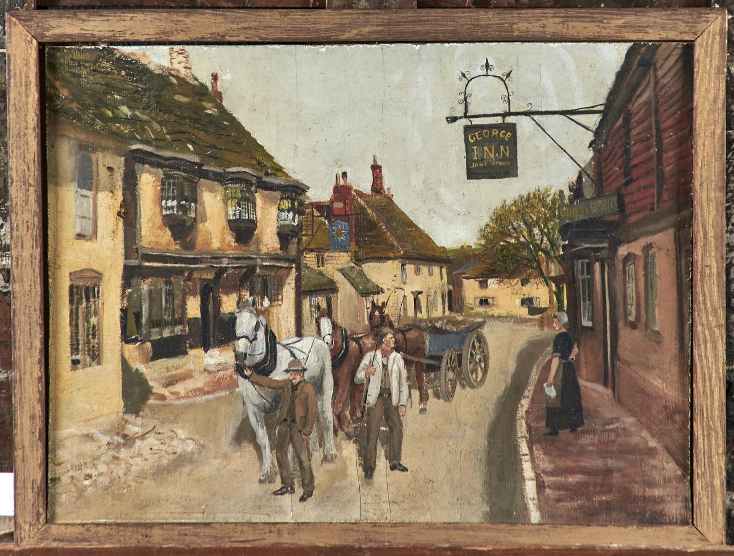 ENGLISH NAIVE ARTIST, EARLY 20TH CENTURY - YOUTH AND AGE, OIL ON BOARD, 32.5 X 43.5CM Slight - Image 2 of 3