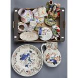 FOUR POOLE POTTERY VASES, A STAFFORDSHIRE FLATBACK HIGHLANDER FIGURE, TWO POTTERY COTTAGES, A